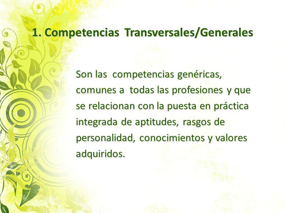 1. Competencias Transversales/Generales