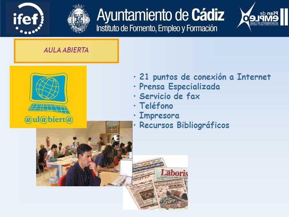 21 puntos de conexión a Internet Prensa Especializada Servicio de fax