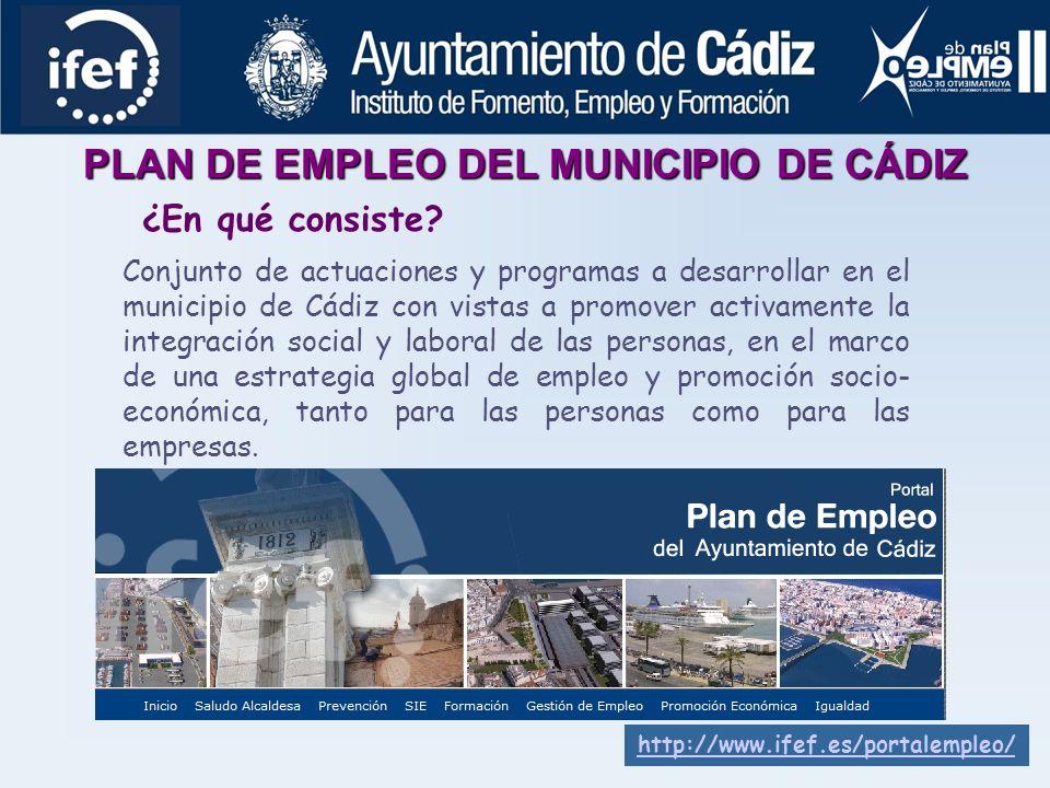 PLAN DE EMPLEO DEL MUNICIPIO DE CÁDIZ