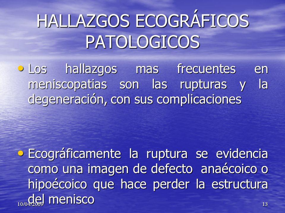 HALLAZGOS ECOGRÁFICOS PATOLOGICOS