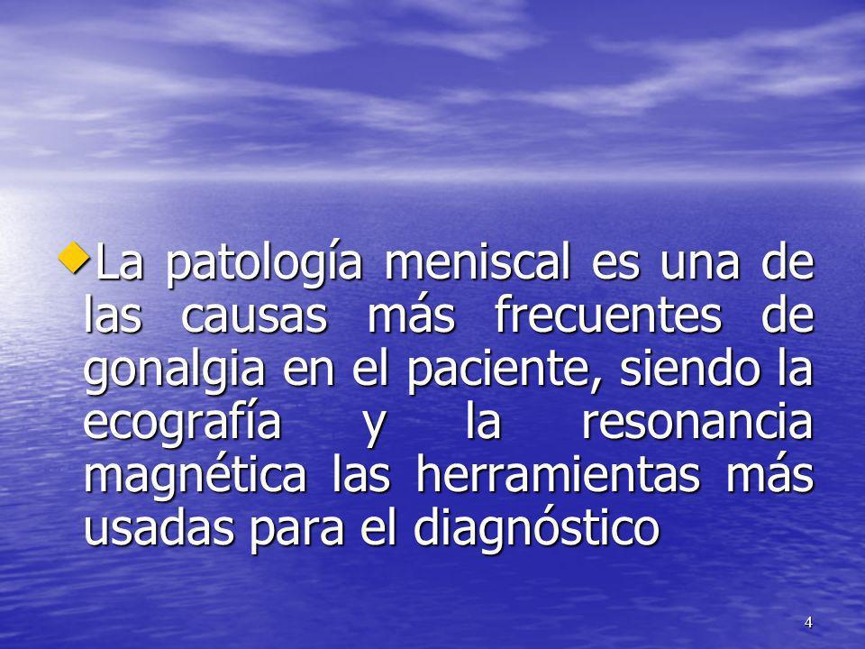 La patología meniscal es una de las causas más frecuentes de gonalgia en el paciente, siendo la ecografía y la resonancia magnética las herramientas más usadas para el diagnóstico