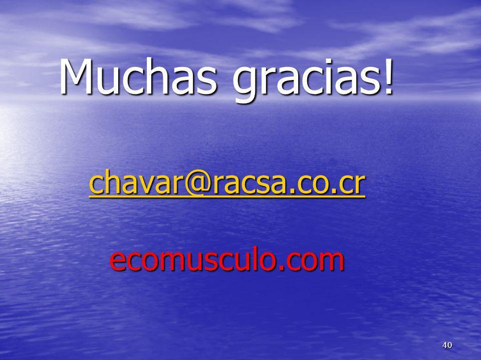 Muchas gracias! chavar@racsa.co.cr ecomusculo.com