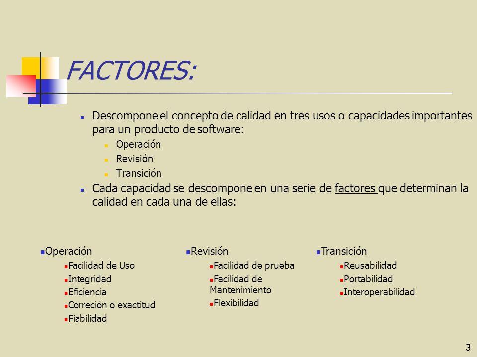 FACTORES: Descompone el concepto de calidad en tres usos o capacidades importantes para un producto de software: