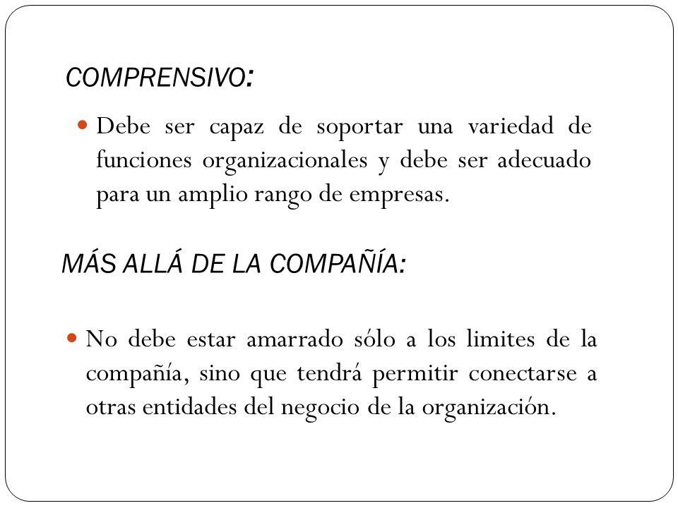 COMPRENSIVO: Debe ser capaz de soportar una variedad de funciones organizacionales y debe ser adecuado para un amplio rango de empresas.