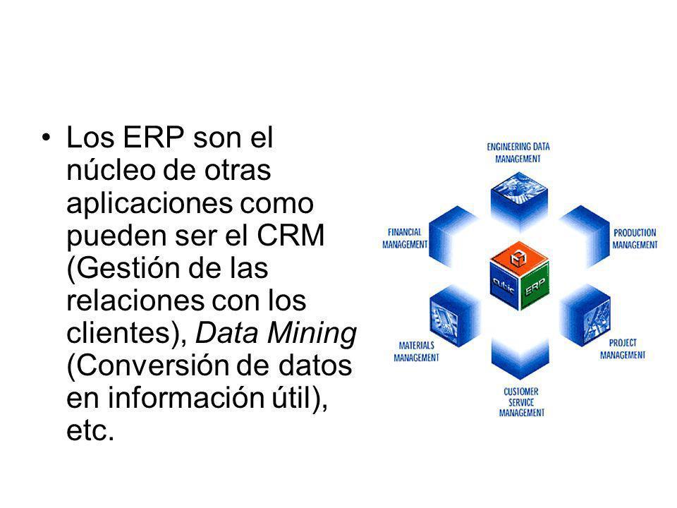 Los ERP son el núcleo de otras aplicaciones como pueden ser el CRM (Gestión de las relaciones con los clientes), Data Mining (Conversión de datos en información útil), etc.