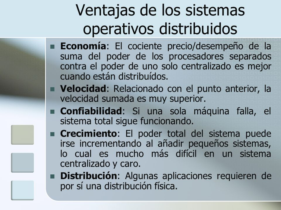 Ventajas de los sistemas operativos distribuidos