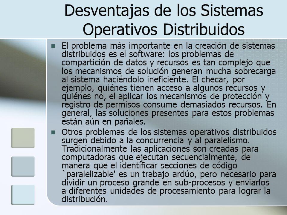 Desventajas de los Sistemas Operativos Distribuidos