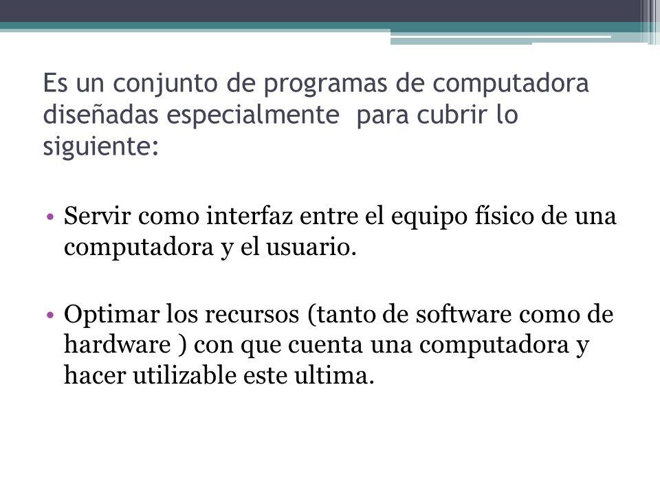 Es un conjunto de programas de computadora diseñadas especialmente para cubrir lo siguiente:
