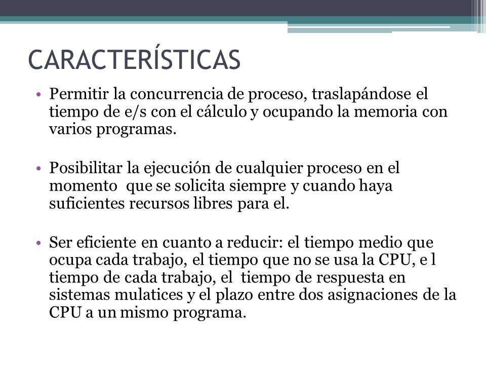 CARACTERÍSTICAS Permitir la concurrencia de proceso, traslapándose el tiempo de e/s con el cálculo y ocupando la memoria con varios programas.