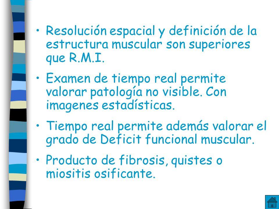 Resolución espacial y definición de la estructura muscular son superiores que R.M.I.