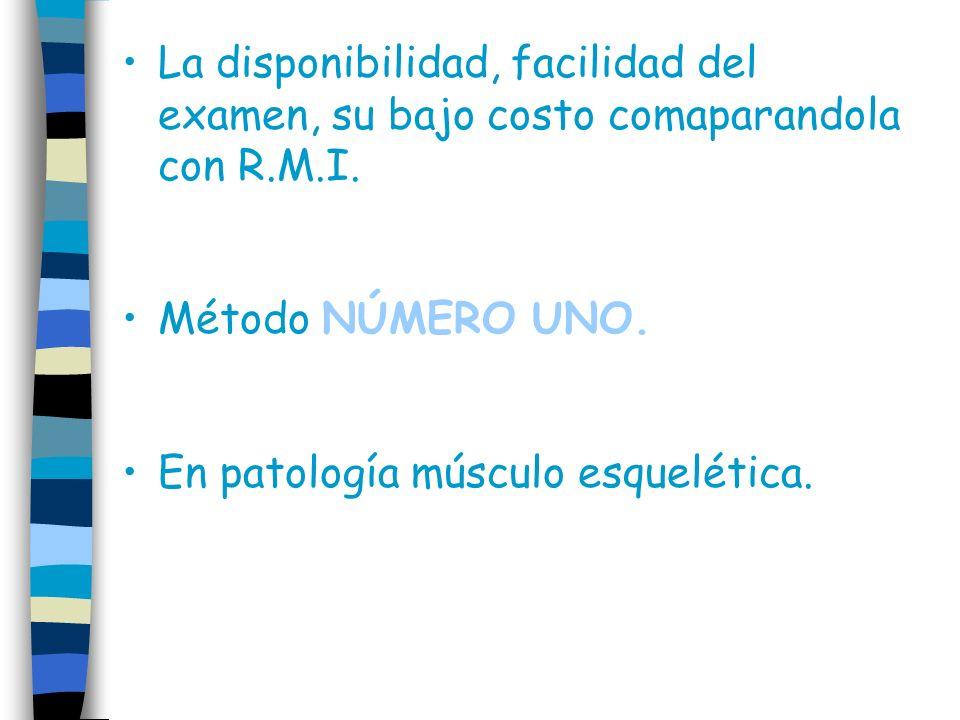La disponibilidad, facilidad del examen, su bajo costo comaparandola con R.M.I.
