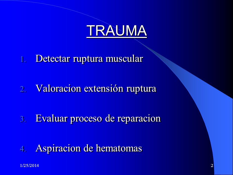TRAUMA Detectar ruptura muscular Valoracion extensión ruptura