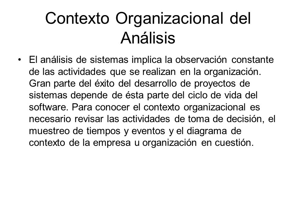 Contexto Organizacional del Análisis