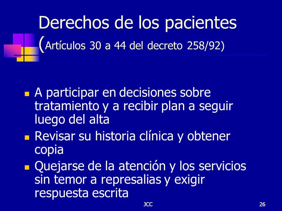Derechos de los pacientes (Artículos 30 a 44 del decreto 258/92)