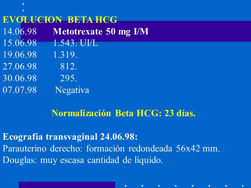 EVOLUCION BETA HCG 14.06.98 Metotrexate 50 mg I/M. 15.06.98 1.543. UI/L. 19.06.98 1.319. 27.06.98 812.