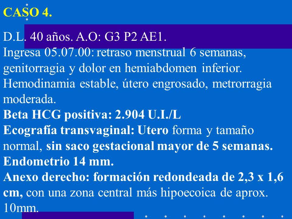 CASO 4. D.L. 40 años. A.O: G3 P2 AE1. Ingresa 05.07.00: retraso menstrual 6 semanas, genitorragia y dolor en hemiabdomen inferior.