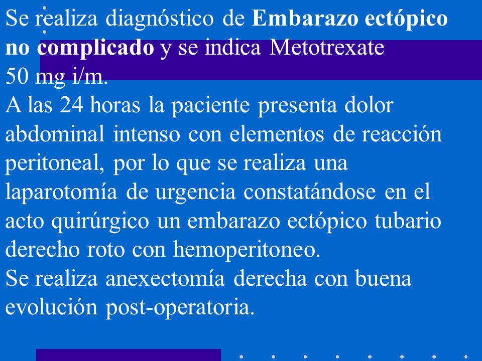 Se realiza diagnóstico de Embarazo ectópico no complicado y se indica Metotrexate