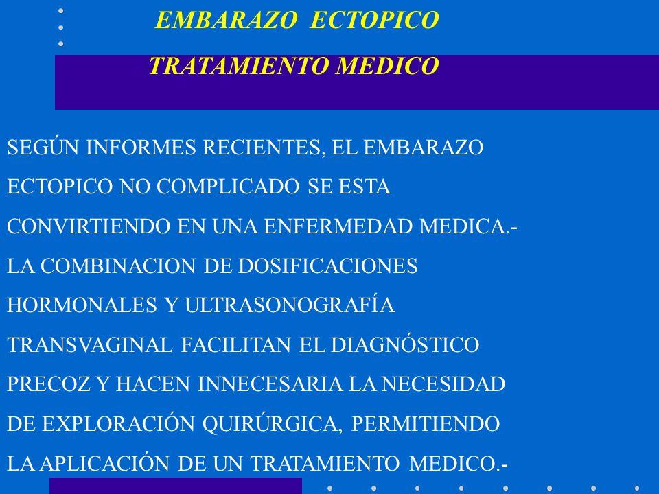 TRATAMIENTO MEDICO EMBARAZO ECTOPICO