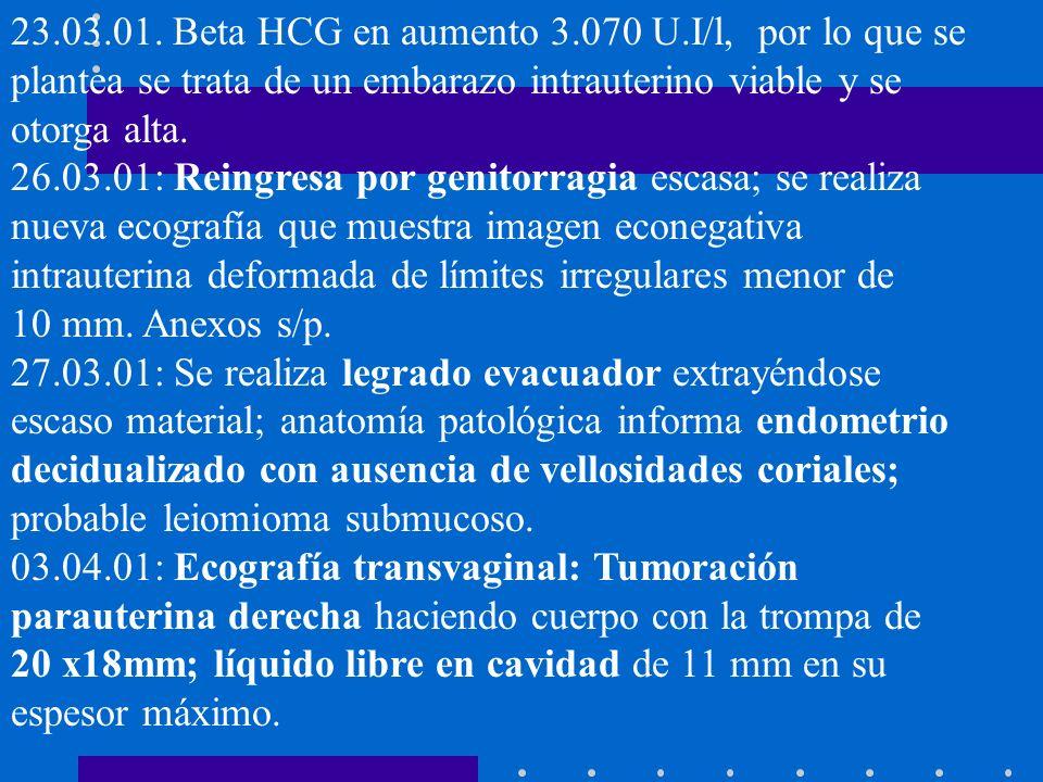 23.03.01. Beta HCG en aumento 3.070 U.I/l, por lo que se plantea se trata de un embarazo intrauterino viable y se otorga alta.