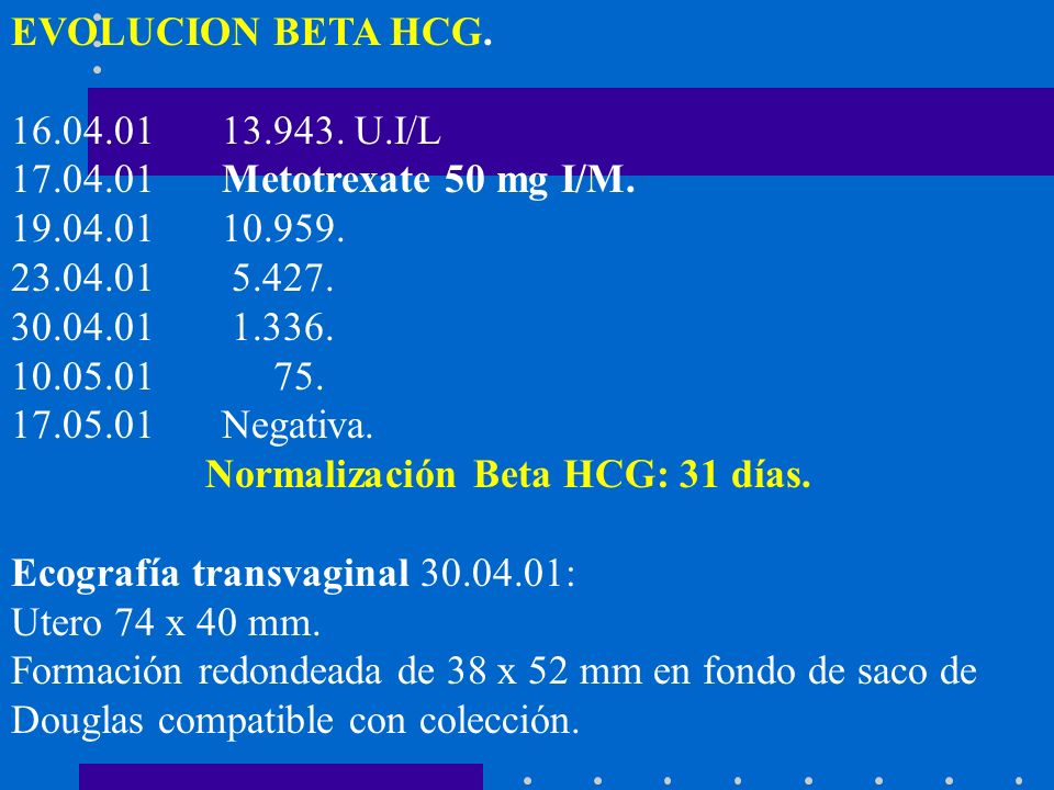 EVOLUCION BETA HCG. 16.04.01 13.943. U.I/L. 17.04.01 Metotrexate 50 mg I/M. 19.04.01 10.959. 23.04.01 5.427.