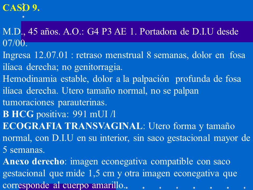 CASO 9.M.D., 45 años. A.O.: G4 P3 AE 1. Portadora de D.I.U desde 07/00.