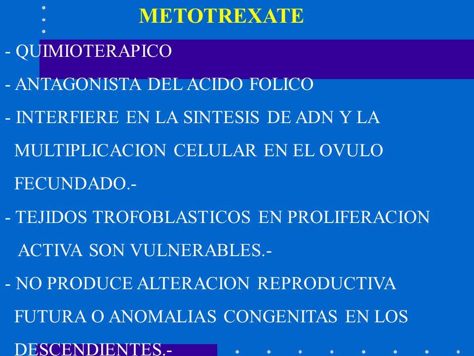 METOTREXATE- QUIMIOTERAPICO. - ANTAGONISTA DEL ACIDO FOLICO. - INTERFIERE EN LA SINTESIS DE ADN Y LA.
