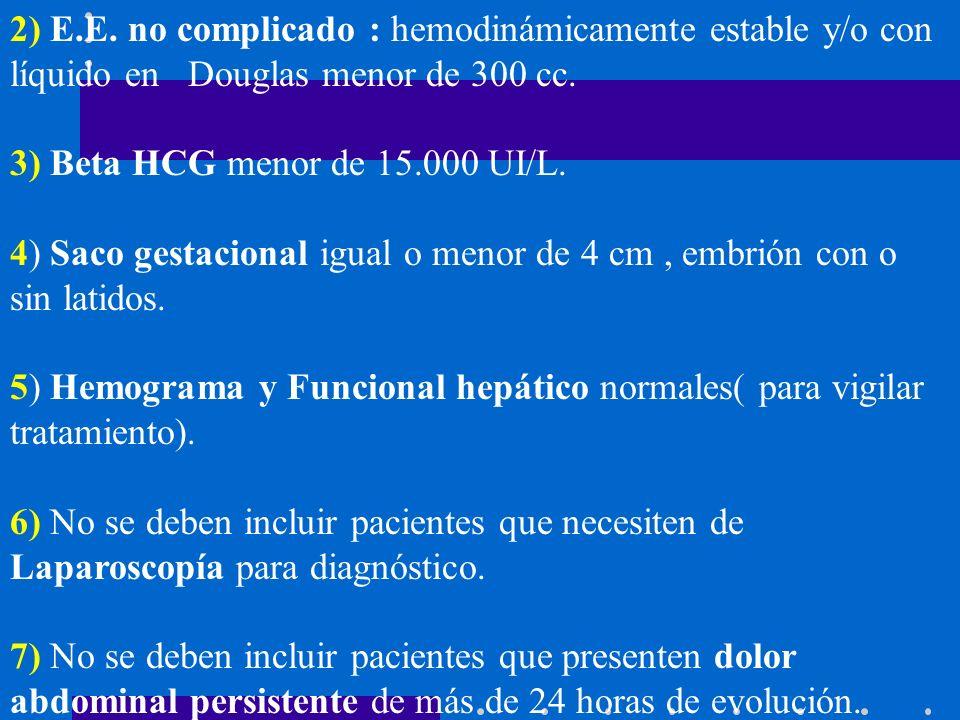 2) E.E. no complicado : hemodinámicamente estable y/o con líquido en Douglas menor de 300 cc.