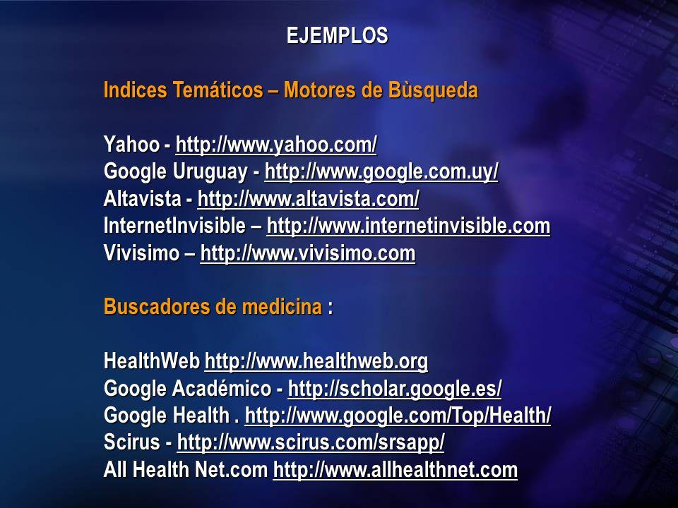 EJEMPLOS Indices Temáticos – Motores de Bùsqueda. Yahoo - http://www.yahoo.com/ Google Uruguay - http://www.google.com.uy/