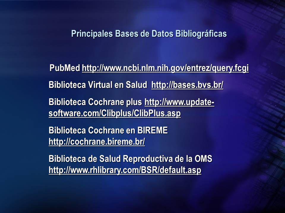Principales Bases de Datos Bibliográficas