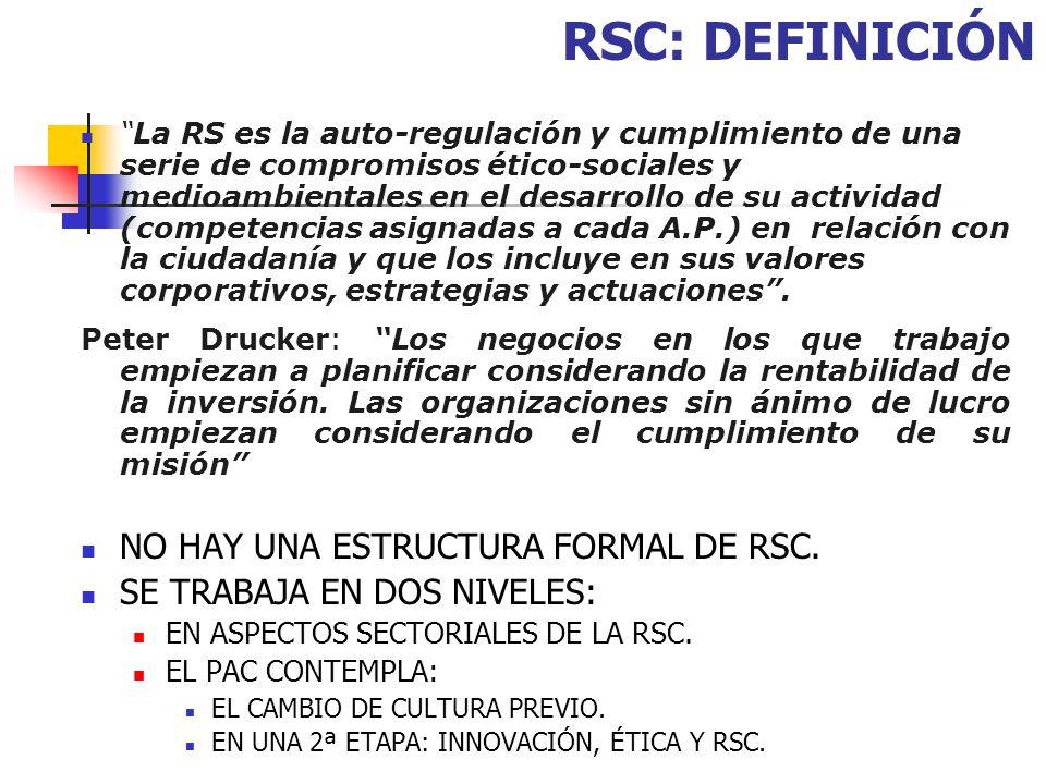 RSC: DEFINICIÓN NO HAY UNA ESTRUCTURA FORMAL DE RSC.