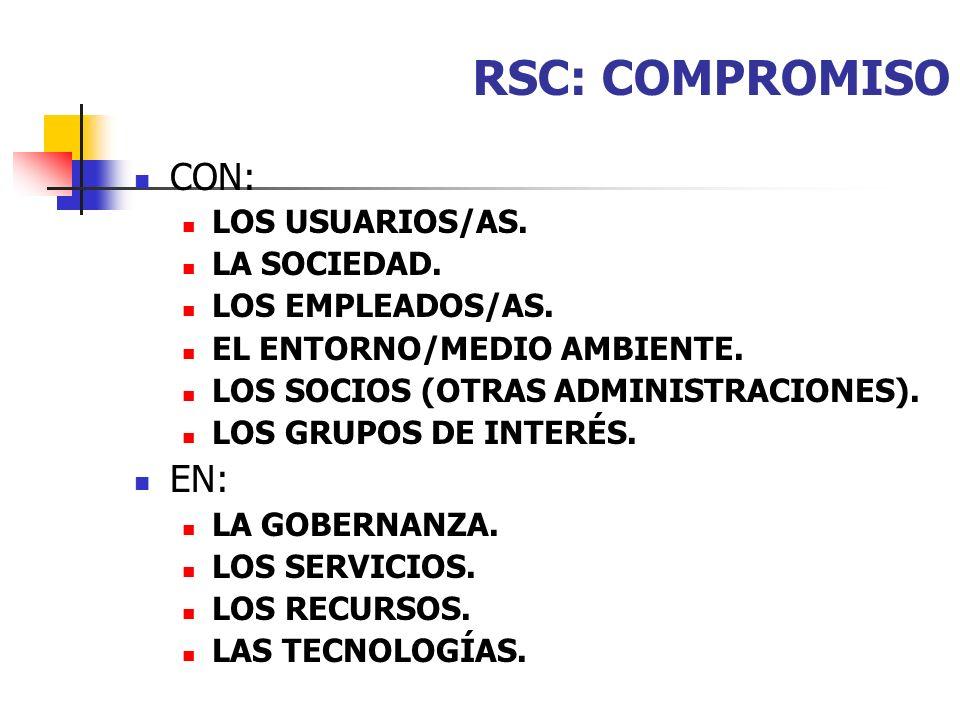 RSC: COMPROMISO CON: EN: LOS USUARIOS/AS. LA SOCIEDAD.