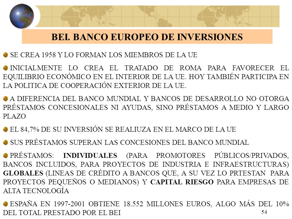 BEI. BANCO EUROPEO DE INVERSIONES