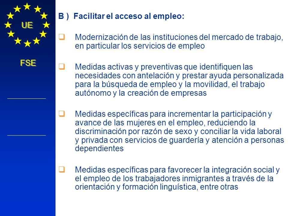 B ) Facilitar el acceso al empleo:
