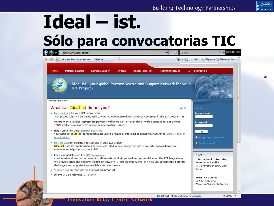 Ideal – ist. Sólo para convocatorias TIC