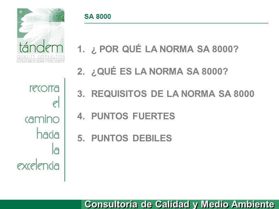 REQUISITOS DE LA NORMA SA 8000 PUNTOS FUERTES PUNTOS DEBILES