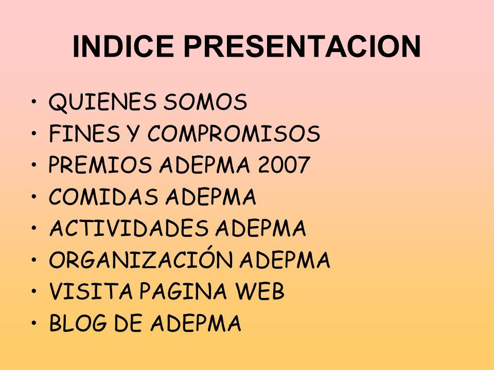 INDICE PRESENTACION QUIENES SOMOS FINES Y COMPROMISOS