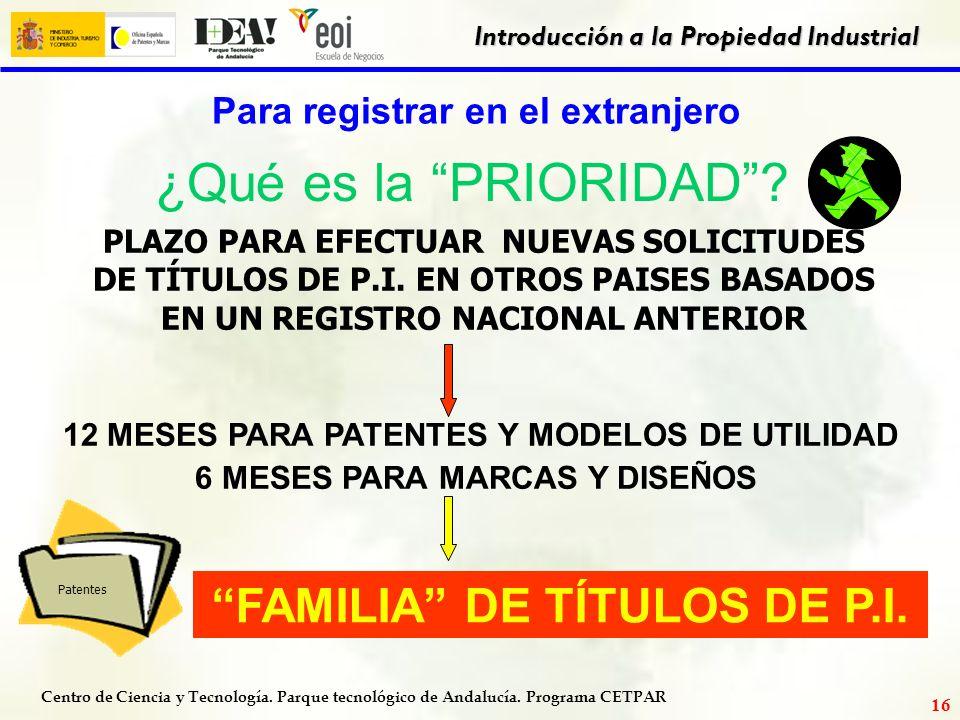 ¿Qué es la PRIORIDAD FAMILIA DE TÍTULOS DE P.I.