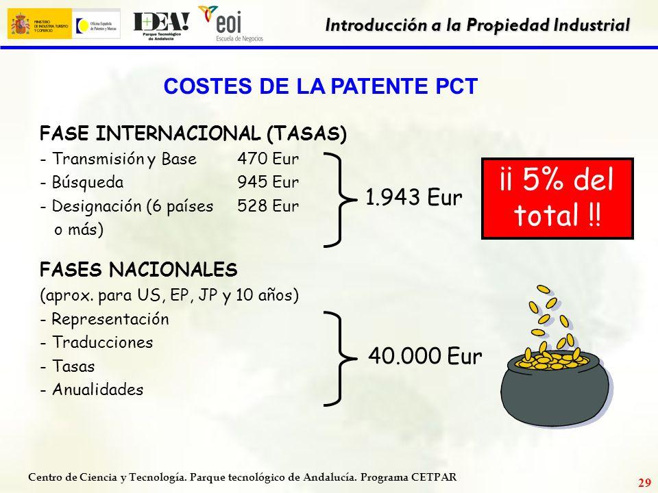 COSTES DE LA PATENTE PCT
