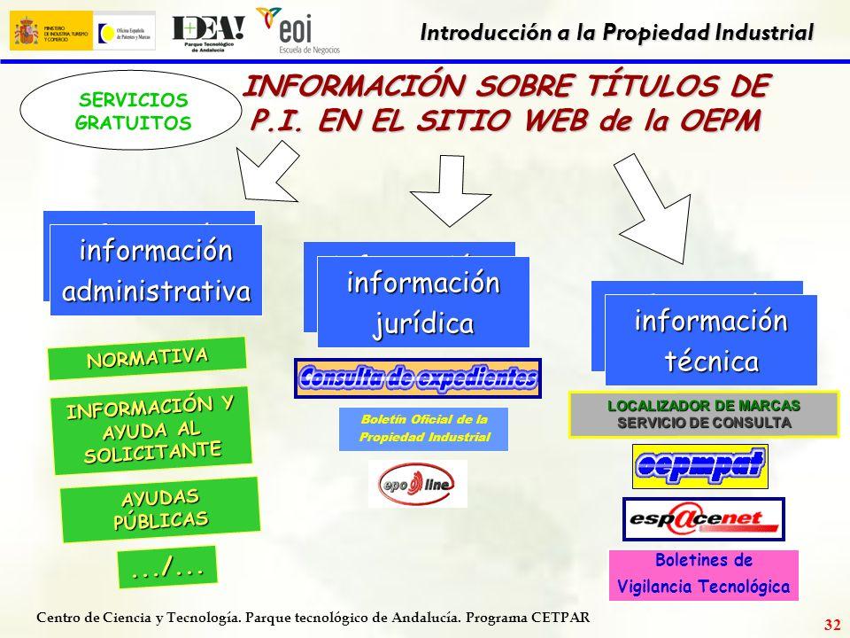 INFORMACIÓN SOBRE TÍTULOS DE P.I. EN EL SITIO WEB de la OEPM