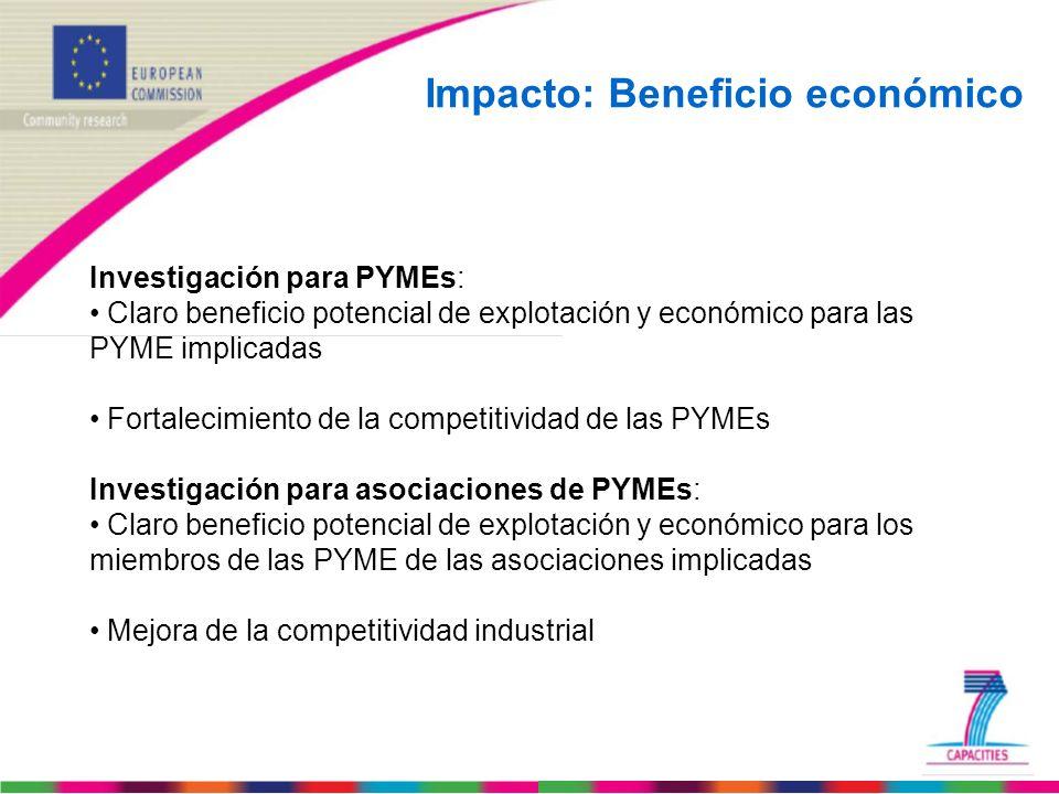 Impacto: Beneficio económico