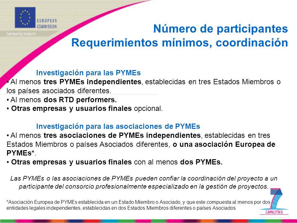 Número de participantes Requerimientos mínimos, coordinación