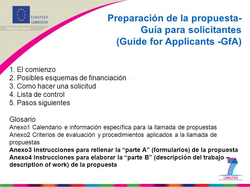 Preparación de la propuesta- Guía para solicitantes