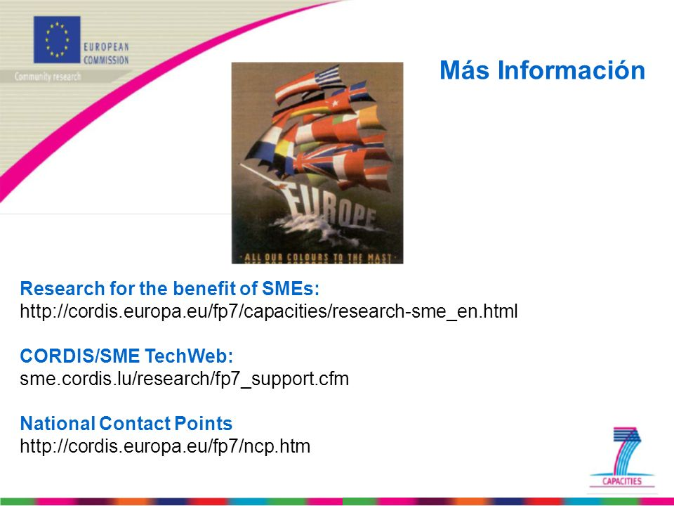 Más Información Research for the benefit of SMEs: