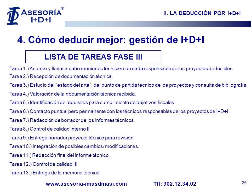 II. LA DEDUCCIÓN POR I+D+I LISTA DE TAREAS FASE III