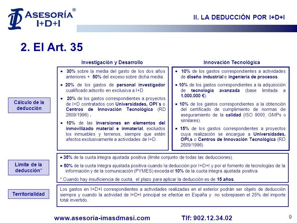 2. El Art. 35 II. LA DEDUCCIÓN POR I+D+I Investigación y Desarrollo