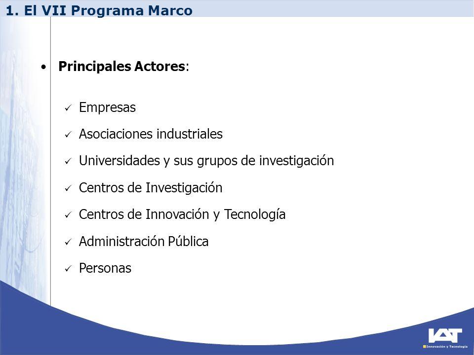 1. El VII Programa Marco Principales Actores: Empresas. Asociaciones industriales. Universidades y sus grupos de investigación.