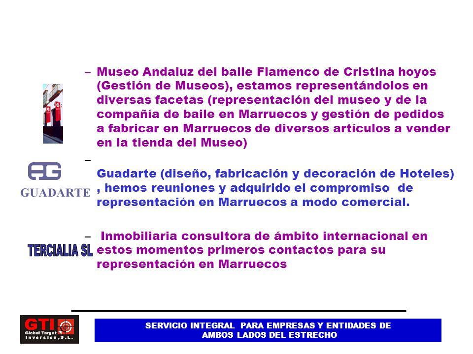 Museo Andaluz del baile Flamenco de Cristina hoyos (Gestión de Museos), estamos representándolos en diversas facetas (representación del museo y de la compañía de baile en Marruecos y gestión de pedidos a fabricar en Marruecos de diversos artículos a vender en la tienda del Museo)
