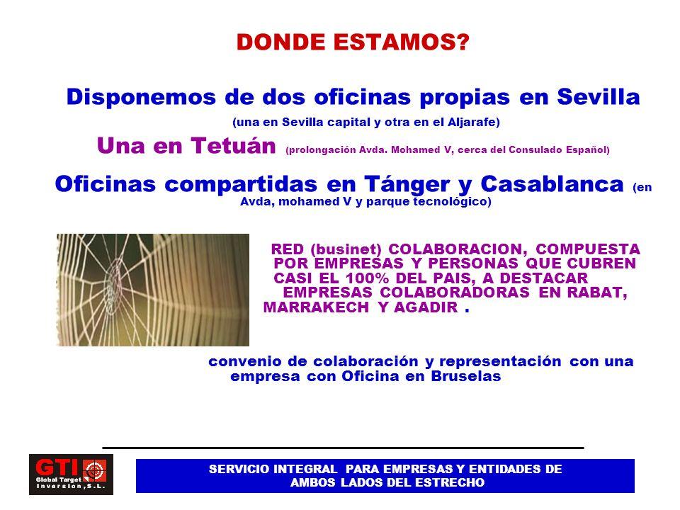 DONDE ESTAMOS Disponemos de dos oficinas propias en Sevilla (una en Sevilla capital y otra en el Aljarafe)