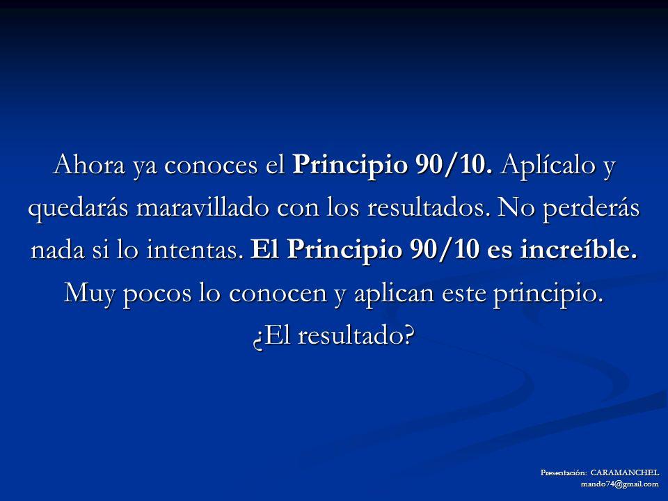 Ahora ya conoces el Principio 90/10. Aplícalo y