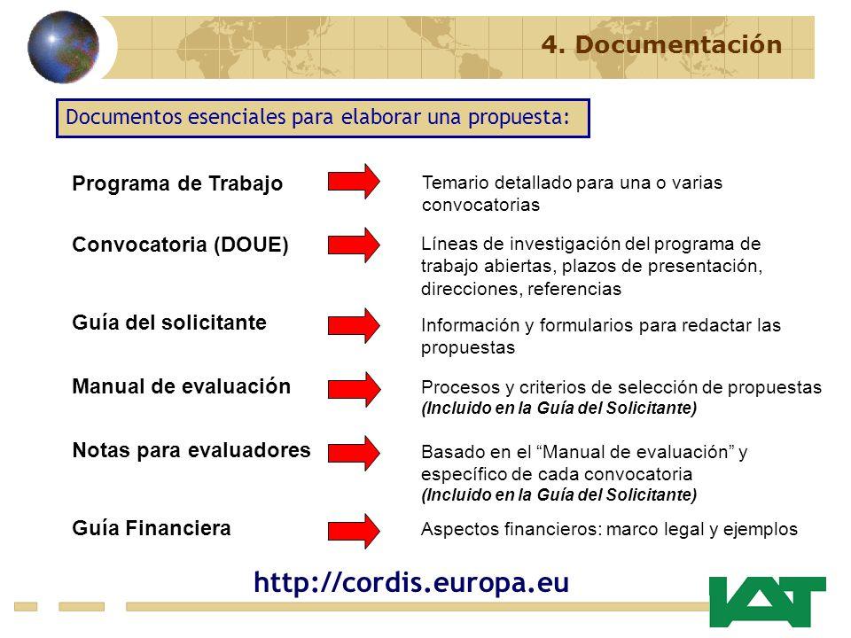 http://cordis.europa.eu 4. Documentación